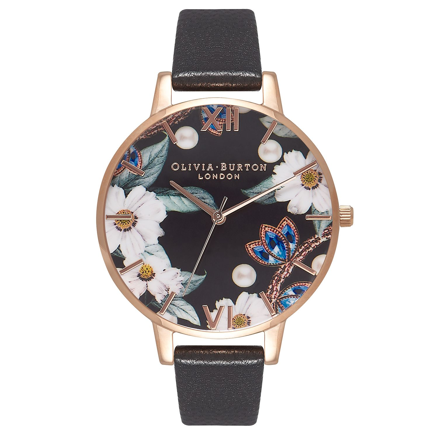 Olivia Burton Bejewelled Floral Ladies' Leather Strap Watch - Product number 9405631