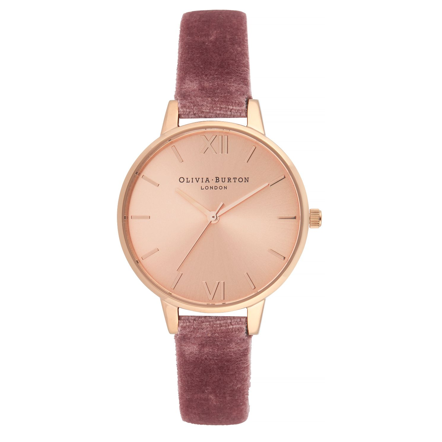 Olivia Burton Ladies' Sunray Dial Rose Velvet Strap Watch - Product number 9405968