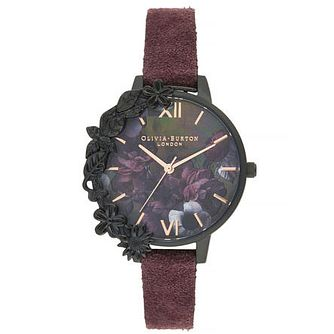Olivia Burton Case Cuff Ladies' IP Wine Suede Strap Watch - Product number 9407081