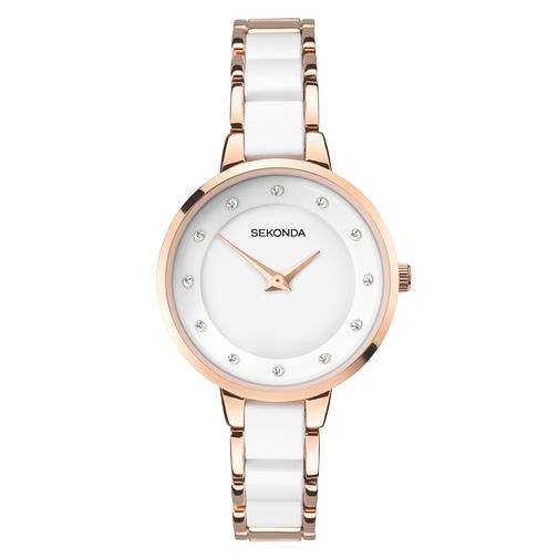 Sekonda Ladies' Rose Gold & White Bracelet Watch - Product number 9407340