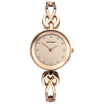 Sekonda Ladies' Woven Rose Gold Tone Bracelet Watch - Product number 9407375