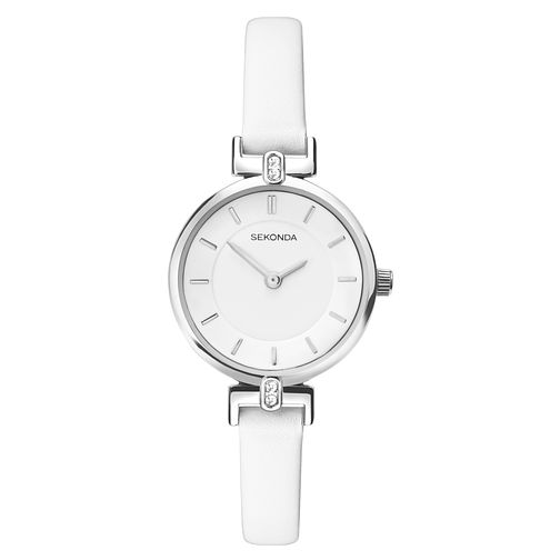 Sekonda Ladies' White Dial White Leather Strap Watch - Product number 9407391