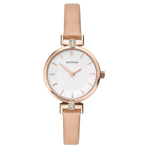 Sekonda Ladies' White Dial Nude Leather Strap Watch - Product number 9407413