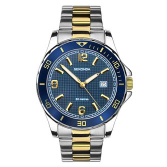 Sekonda Men's Blue Bezel Stainless Steel Bracelet Watch - Product number 9407588