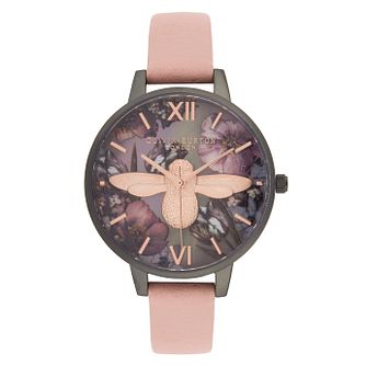 Olivia Burton 3D Bee Ladies' Dusty Pink Leather Strap Watch - Product number 9408053