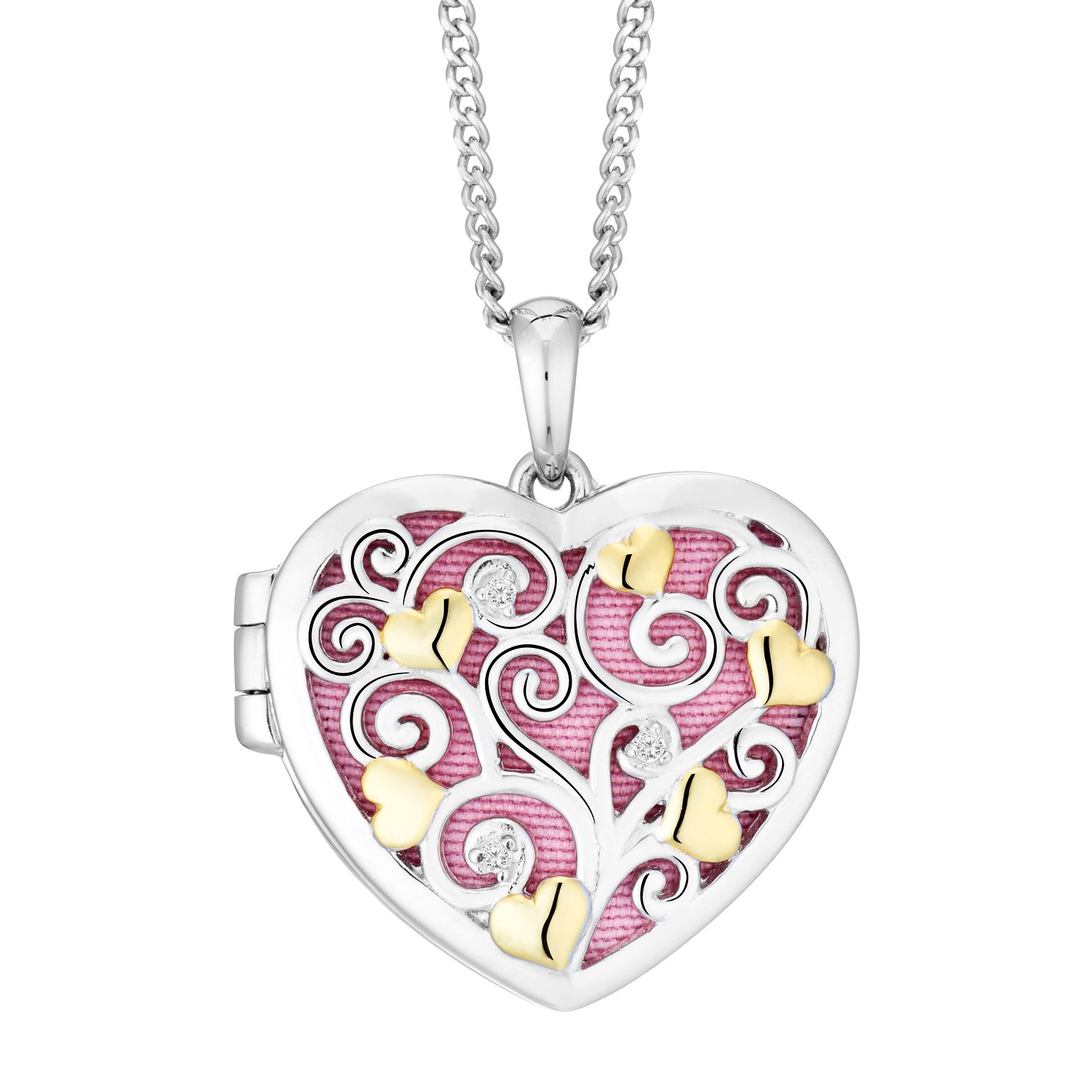 Two Tone Cubic Zirconia Filigree Heart Locket - Product number 9409572