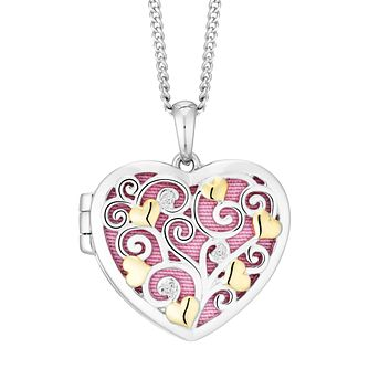 Silver and Gold Plated Cubic Zirconia Cut Out Heart Locket - Product number 9409572