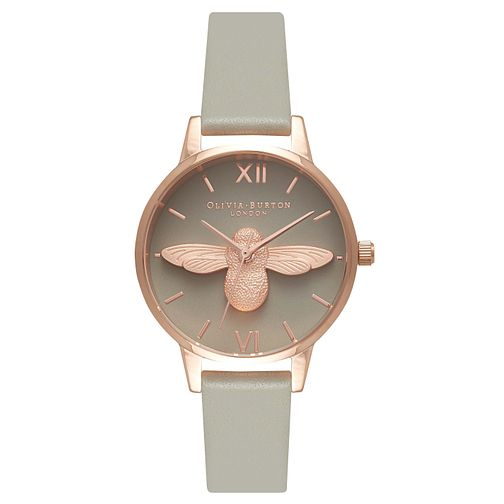 Olivia Burton Midi 3D Bee Ladies Rose Gold Plated Grey Watch - Product number 9417923