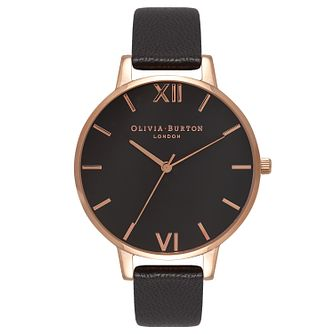 Olivia Burton Big Dial Ladies' Rose Gold Plated Black Watch - Product number 9417990