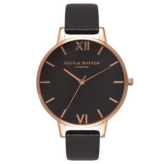 f1af8d35e8c0 Olivia Burton Big Dial Ladies' Rose Gold Plated Black Watch - Product  number 9417990