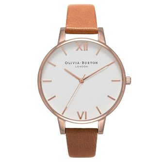 Olivia Burton Big Dial Ladies' Rose Gold Plated Tan Watch - Product number 9418318