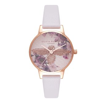 Olivia Burton Embroidered Dial Rose Gold Metal Strap Watch - Product number 9419063