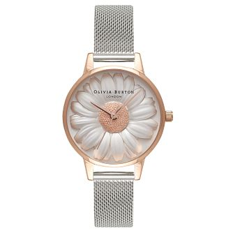 Olivia Burton 3D Daisy Ladies' Rose Gold Plated Grey Watch - Product number 9419128
