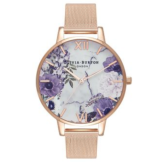 Olivia Burton Marble Floral Ladies' Rose Gold Plated Watch - Product number 9419195