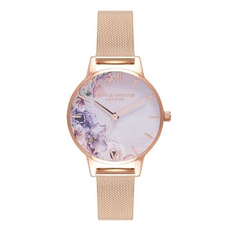 Olivia Burton Watercolour Florals Silver Tone Metal Watch - Product number 9419322