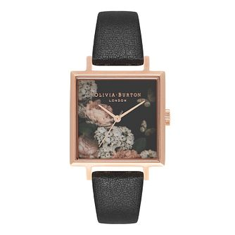 Olivia Burton Square Florals Rose Gold Metal Plated Watch - Product number 9419403