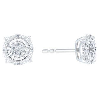 9ct White Gold Diamond Stud Earrings - Product number 9421122