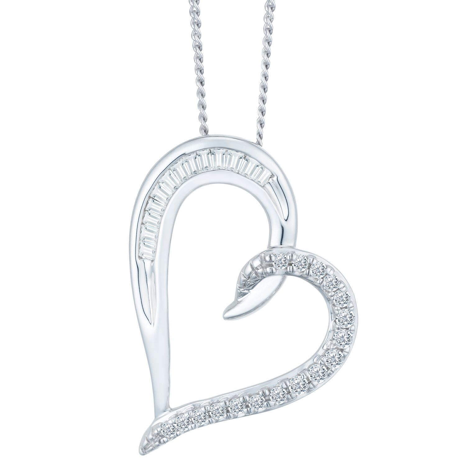 9ct White Gold 0.15ct Diamond Heart Pendant - Product number 9421130