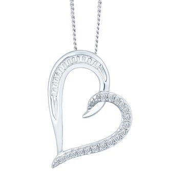 9ct White Gold Diamond Heart Pendant - Product number 9421130