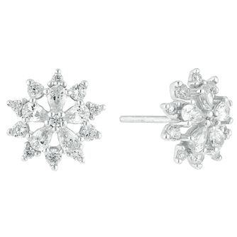 Sterling Silver Cubic Zirconia Flower Stud Earrings - Product number 9427848