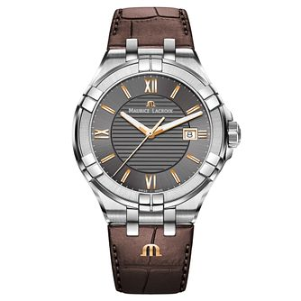 Maurice Lacroix Aikon Men's Brown Leather Strap Watch - Product number 9429859