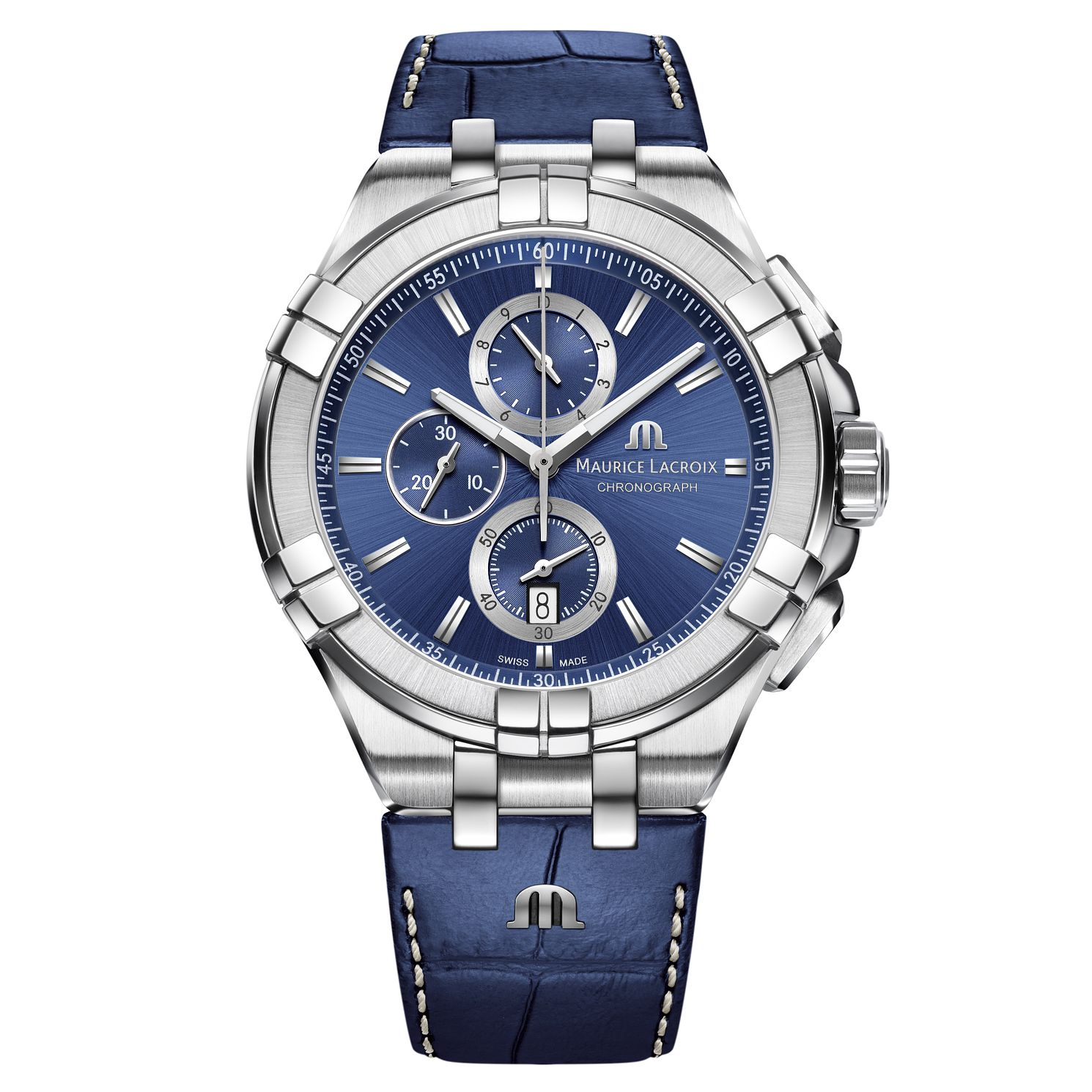 Maurice Lacroix Aikon Men's Blue Leather Strap Watch - Product number 9429883
