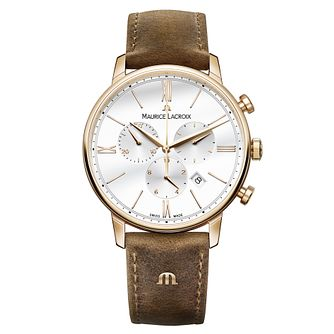 Maurice Lacroix Eliros Men's Brown Leather Strap Watch - Product number 9429956