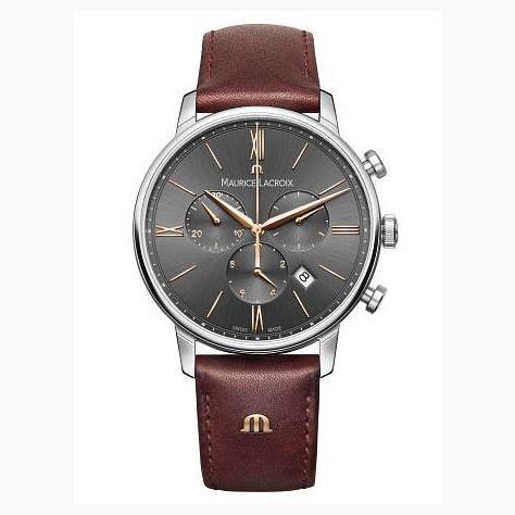 Maurice Lacroix Eliros Men's Brown Leather Strap Watch - Product number 9429964