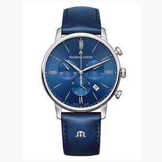 Maurice Lacroix Eliros Men's Blue Leather Strap Watch - Product number 9429972