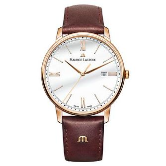 Maurice Lacroix Men's Rose Gold Plated Brown Strap Watch - Product number 9430253