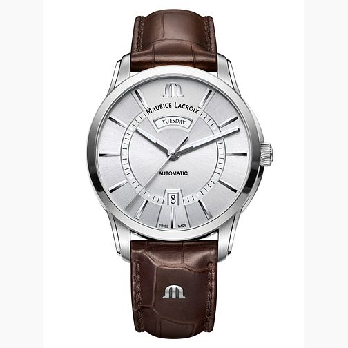 Maurice Lacroix Pontos Men's Brown Leather Strap Watch - Product number 9430415