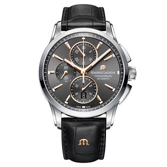 Maurice Lacroix Pontos Men's Black Leather Strap Watch - Product number 9430474