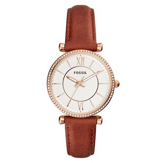 Fossil Ladies' Brown Leather Strap Watch - Product number 9430784