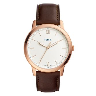 Fossil The Minimalist Brown Leather Strap Watch - Product number 9430849