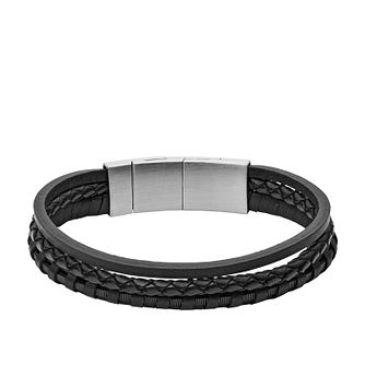 Fossil Black Multi-Strand Braided Leather Bracelet - Product number 9430911