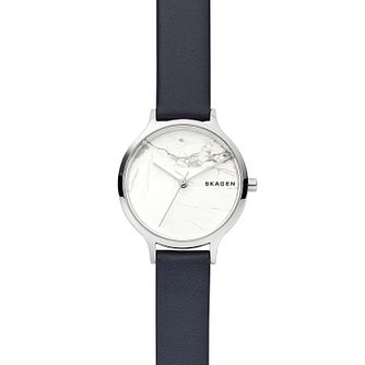 Skagen Anita White Dial Leather Strap Watch - Product number 9431047
