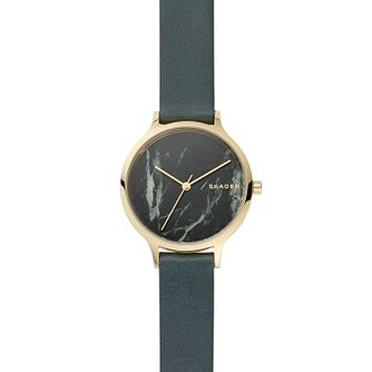 Skagen Ladies' Green Leather Strap Watch - Product number 9431055
