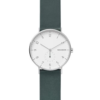 Skagen Unisex Aaren Green Leather Watch - Product number 9431144