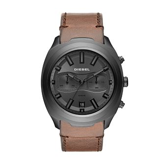 Diesel Brown Leather Strap Grey Dial Watch - Product number 9431306