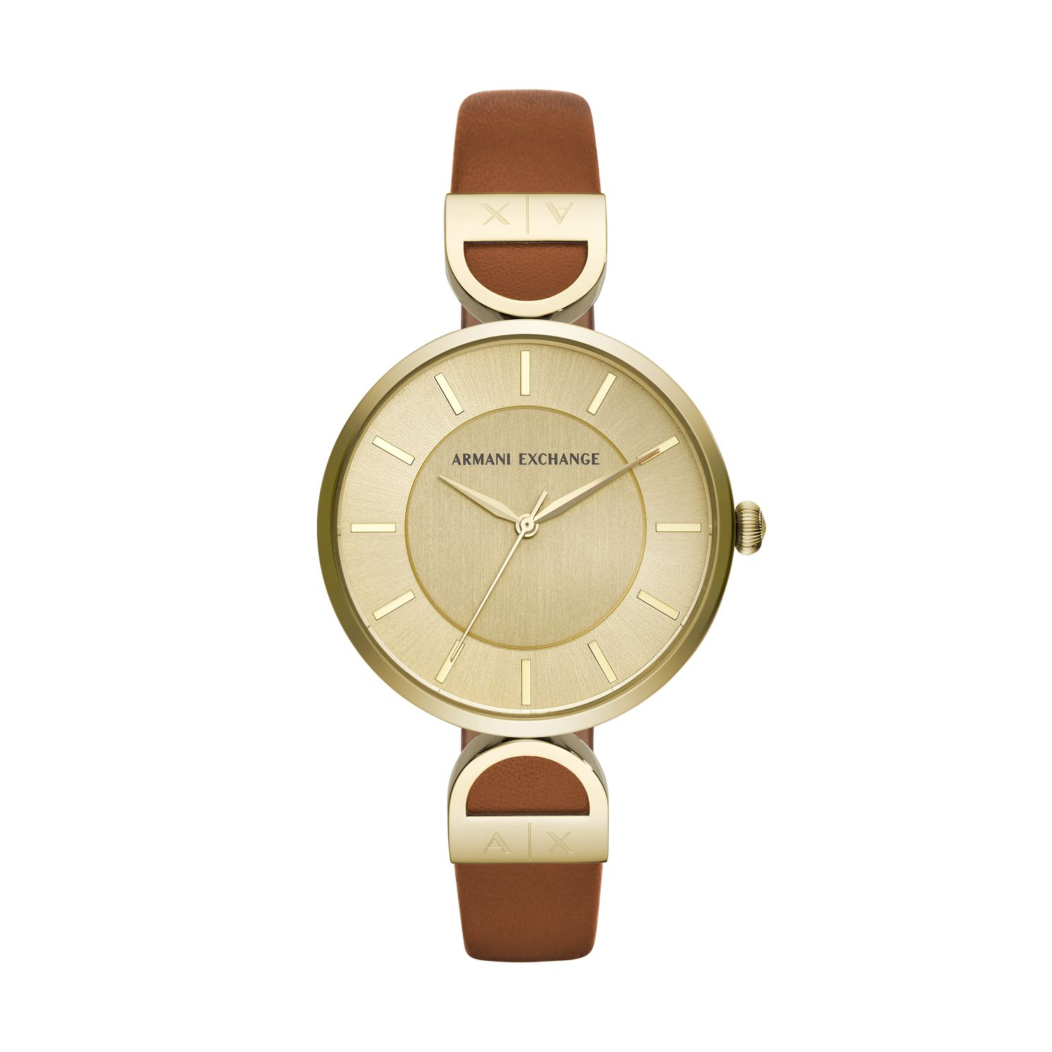 Armani Exchange Brown & Gold Leather Strap Watch Gold Dial - Product number 9431357