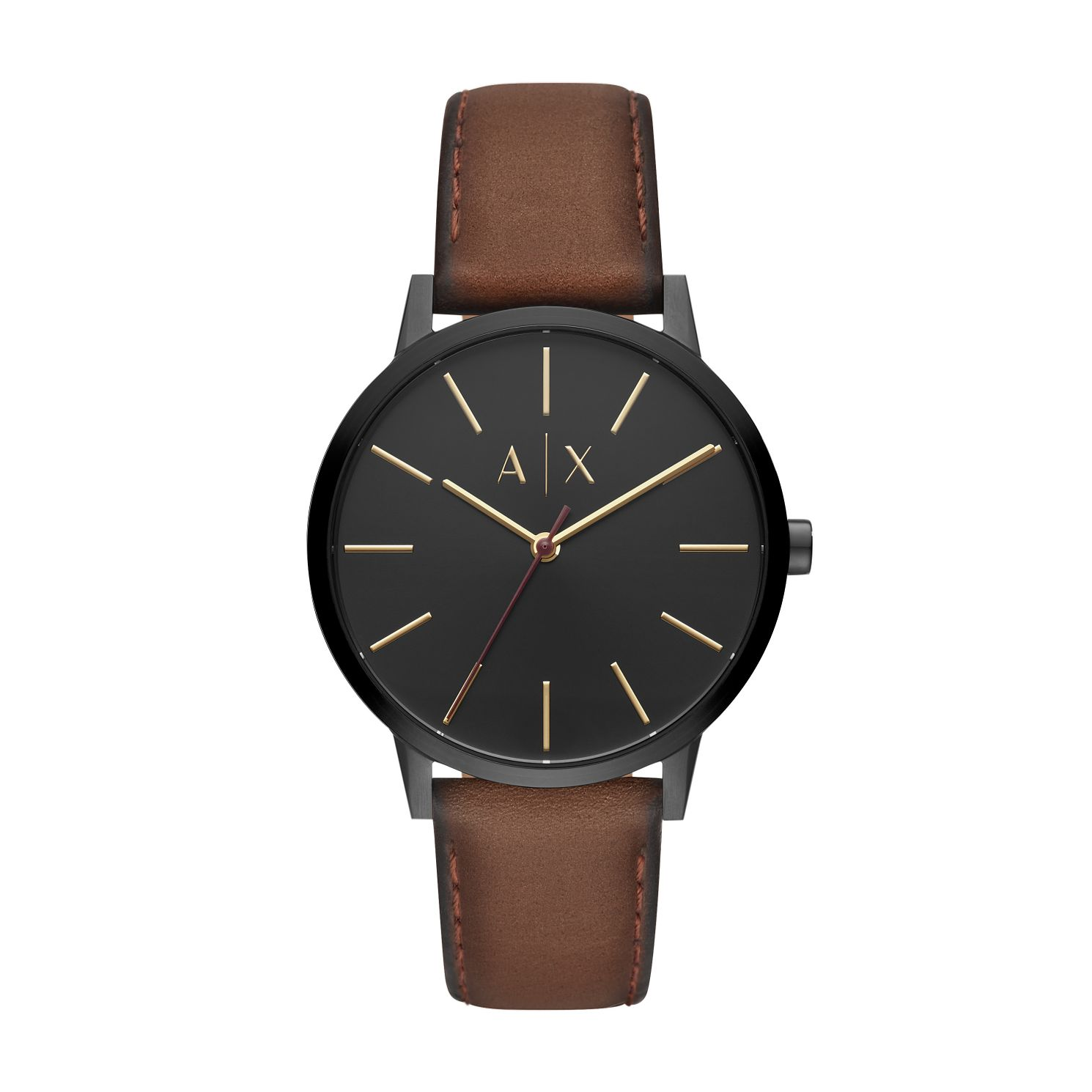 Armani Exchange Brown Leather Black Dial Strap Watch - Product number 9431519