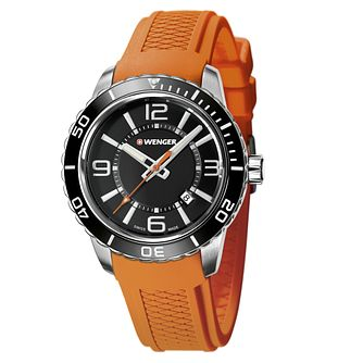 Wenger Roadster Men's Orange Silicone Strap Watch - Product number 9432272
