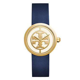 Tory Burch Reva Ladies' Yellow Gold Tone Navy Strap Watch - Product number 9433325