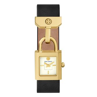 Tory Burch Surrey Ladies' Yellow Gold Tone Black Strap Watch - Product number 9433406
