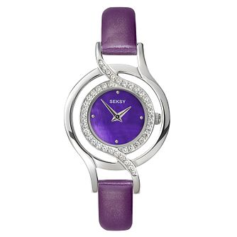 Seksy Ladies' Purple Leather Strap Watch - Product number 9434356