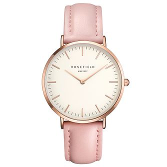 Rosefield Bowery Ladies' Pink Leather Strap Watch - Product number 9435948