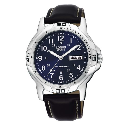 Lorus Sports Men's Black Leather Strap Watch - Product number 9444335