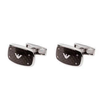 Emporio Armani men's stainless steel & black logo cufflinks - Product number 9447083