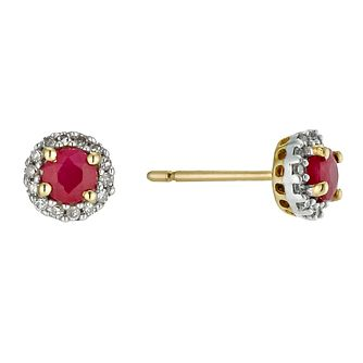 9ct yellow gold ruby & diamond stud earrings - Product number 9447210