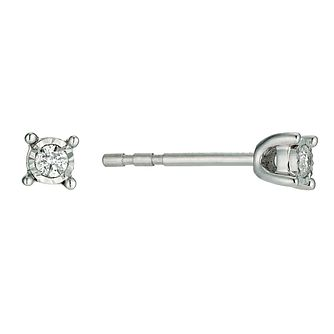 9ct white gold 0.08 point diamond stud earrings - Product number 9454357